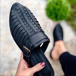 Shoes - Black vegan Huarache style Pointed Slide Mules